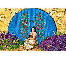 Girl and old painted gate.jpg Photographic Print