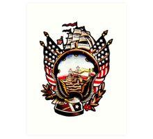 American Navy Ship Eagle Tattoo design Art Print