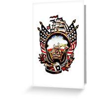 American Navy Ship Eagle Tattoo design Greeting Card