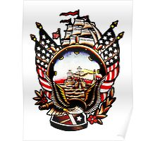 American Navy Ship Eagle Tattoo design Poster