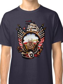 American Navy Ship Eagle Tattoo design Classic T-Shirt