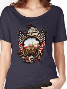 American Navy Ship Eagle Tattoo design Women's Relaxed Fit T-Shirt