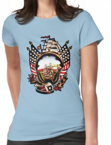 American Navy Ship Eagle Tattoo design Womens Fitted T-Shirt