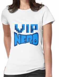 nerd geek schlau pixel gamer 8 bit cool design retro alt look gold vip wichtig person  Womens Fitted T-Shirt