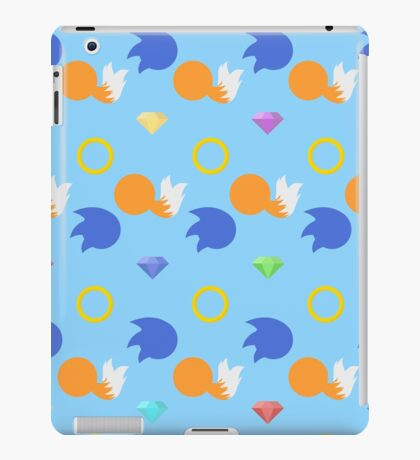 Sonic and Tails chaos emeralds (blue) iPad Case/Skin