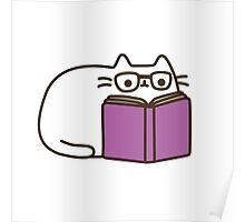 Cute Kawaii Nerd Cat Poster