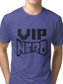 nerd geek schlau pixel gamer 8 bit cool design retro alt look gold vip wichtig person  Tri-blend T-Shirt