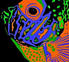 Angel Fish Swimming in the Sea #2 by Saundra Myles