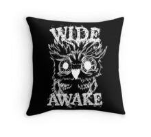 Wide Awake Owl - White Throw Pillow