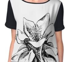 Columbine Flower black and white art sketch Chiffon Top