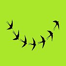swallows in flight by paula cattermole artinapuddle