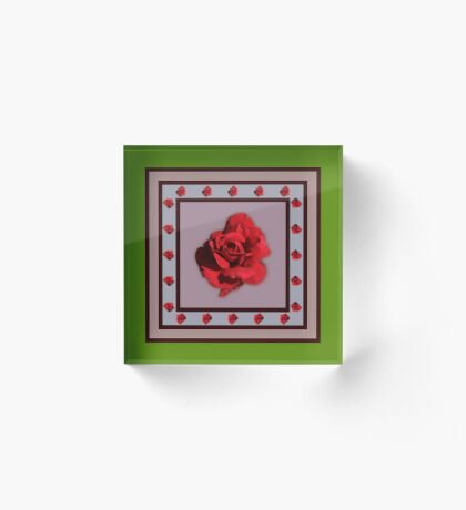 Red Rose Acrylic Block