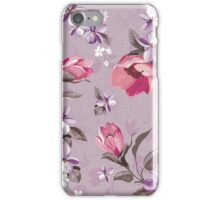 shabby chic,vintage,floral,flowers,country chic,Wisteria,pink,green,lavender,white,purple iPhone Case/Skin