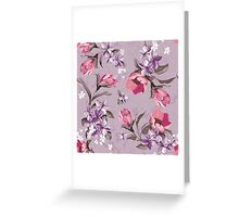 shabby chic,vintage,floral,flowers,country chic,Wisteria,pink,green,lavender,white,purple Greeting Card