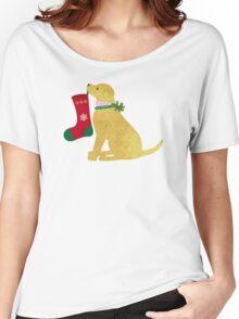 Golden Retriever Preppy Dog Christmas Women's Relaxed Fit T-Shirt
