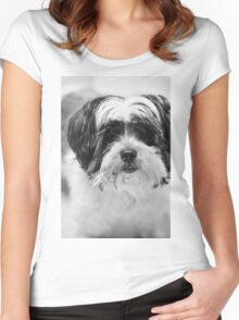 Maltese Dog Portrait Women's Fitted Scoop T-Shirt