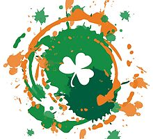 Cool Lucky Shamrock and Ink Background  by Silvia Neto