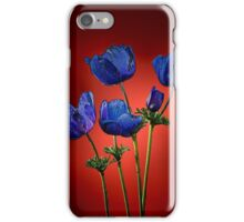 Blue poppies aganst red iPhone Case/Skin