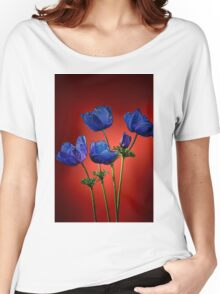 Blue poppies aganst red Women's Relaxed Fit T-Shirt