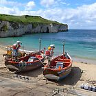 Fishing boats on the shore at Flamborough by Anna Myerscough