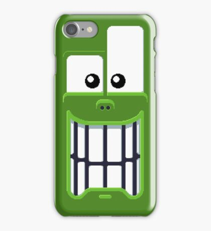 Green smiling monster face iPhone Case/Skin