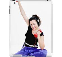 Girl sitting doing exercise with dumbbells iPad Case/Skin