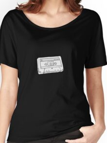 Hand Drawn Cassette Tape Analog Retro Old School  Women's Relaxed Fit T-Shirt