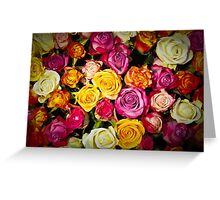 Beautiful Mixed Roses Bouquet Greeting Card
