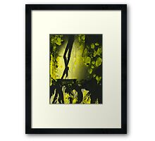 Yellow water color painted silver gelatin black and white print  of legs of female dancer analog film photo Framed Print