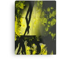 Yellow water color painted silver gelatin black and white print  of legs of female dancer analog film photo Metal Print