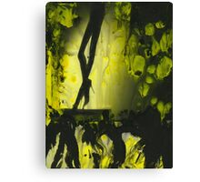 Yellow water color painted silver gelatin black and white print  of legs of female dancer analog film photo Canvas Print