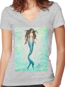 Mermaid | Watercolour Texture  Women's Fitted V-Neck T-Shirt