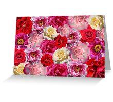 Vibrant Garden Roses Design Greeting Card