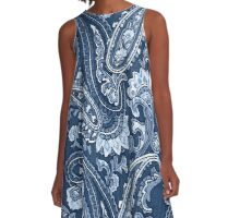 Blue indigo paisley A-Line Dress