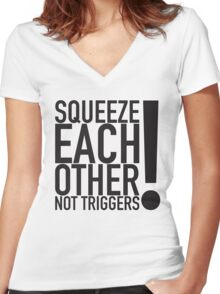 Squeeze Each Other Women's Fitted V-Neck T-Shirt