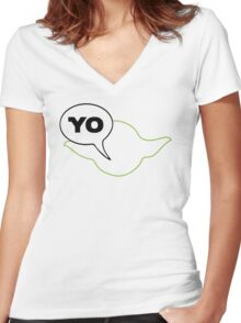 Star Wars Yoda Yo Parody  Women's Fitted V-Neck T-Shirt
