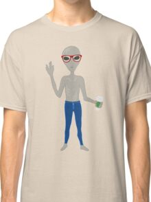 Alien Hipster In Skinny Jeans With Coffee Classic T-Shirt