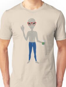 Alien Hipster In Skinny Jeans With Coffee Unisex T-Shirt