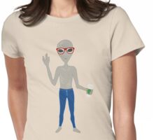 Alien Hipster In Skinny Jeans With Coffee Womens Fitted T-Shirt