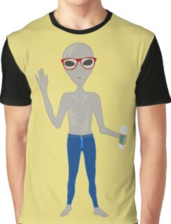 Alien Hipster In Skinny Jeans With Coffee Graphic T-Shirt