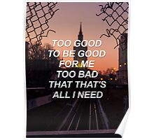 Too good to be good for me too bad that that's all I need Troye {SAD LYRICS} Poster