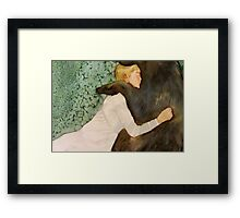 the bear submitted to her love, and if he growled she only laughed Framed Print