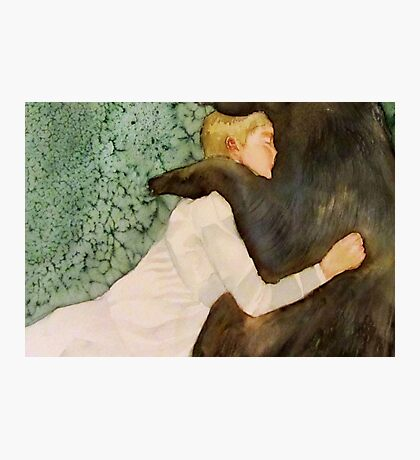 the bear submitted to her love, and if he growled she only laughed Photographic Print
