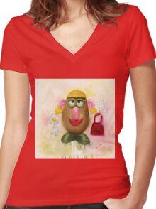 Mrs Potato Head - she's found her eyes! Women's Fitted V-Neck T-Shirt