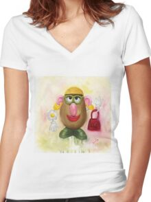 Mrs Potato Head - she's found her eyes! Women's Fitted V-Neck T-Shirt