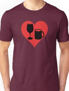 Powered on Coffee & Wine (Black) Unisex T-Shirt