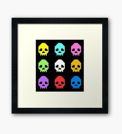8-bit Skulls retro cool design Framed Print