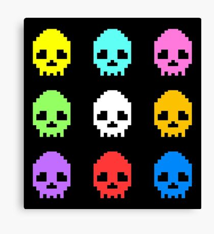 8-bit Skulls retro cool design Canvas Print