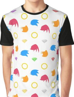 Sonic, Knuckles and Tails with Chaos Emeralds (white) Graphic T-Shirt