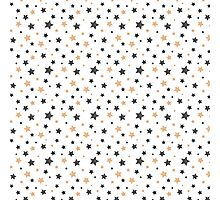 Gold and black Scribbled Stars pattern Photographic Print